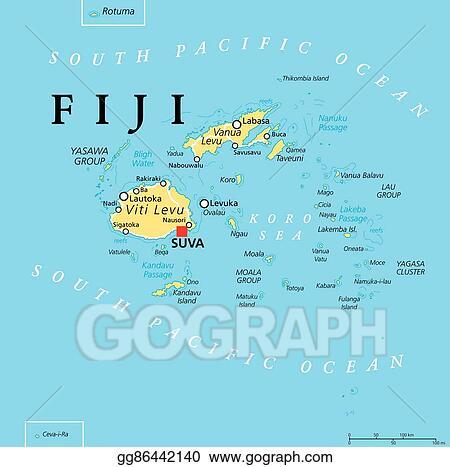 Clip Art Vector   Fiji political map. Stock EPS gg86442140   GoGraph