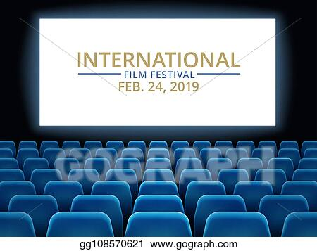 Vector Clipart Film Festival Movie Theater Hall With White Screen Cinema International Festival Vector Background Vector Illustration Gg108570621 Gograph