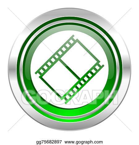 Film Icon Green Button Movie Sign Cinema Symbol