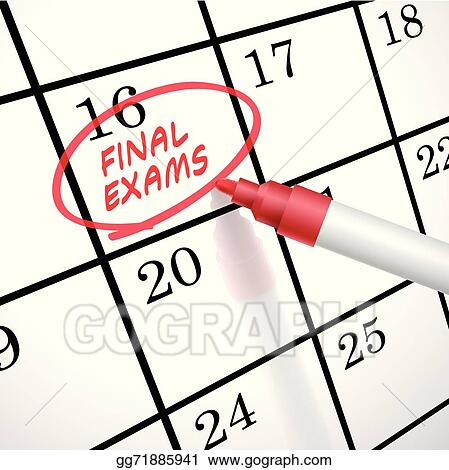 Clip Art Vector - Final exams words circle marked on a