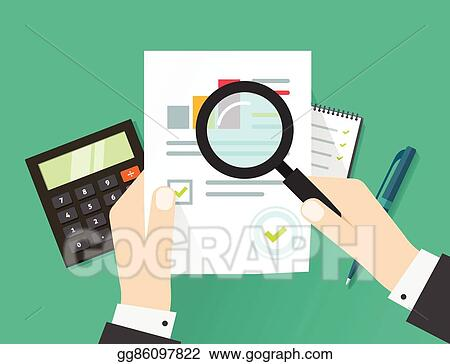 financial audit auditing tax process paper sheet with hands