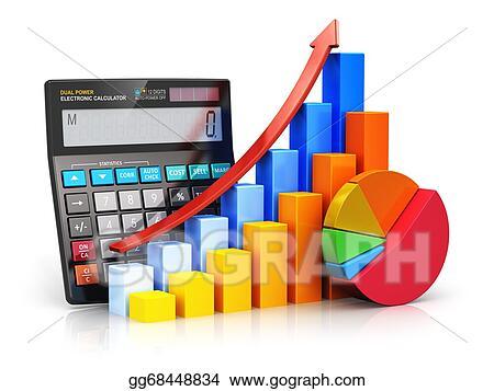 Stock illustrations financial success and accounting concept statistics and analytic research concept black office electronic calculator color bar graph charts and pie diagram isolated on white background with ccuart Image collections