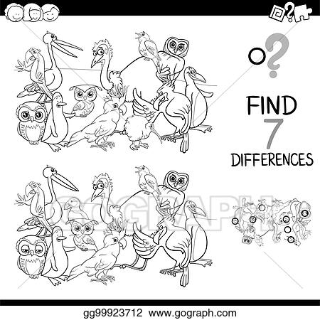 Vector Stock - Find differences with birds coloring book ...