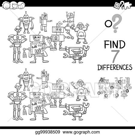 Vector Stock - Find differences with robots color book. Clipart ...