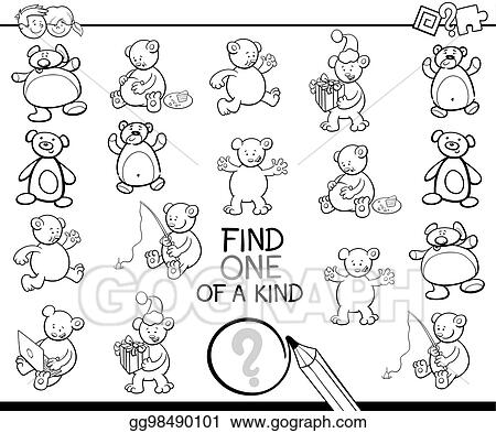 EPS Vector - Find one of a kind coloring book with bears ...