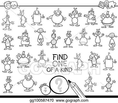 Vector Illustration Find One Of A Kind With Aliens Color Book Eps