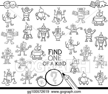 Vector Clipart Find One Of A Kind With Robots Color Book Vector