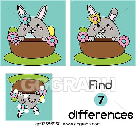 Find The Differences Educational Children Kids Activity Sheet With Cute Easter Bunny Character