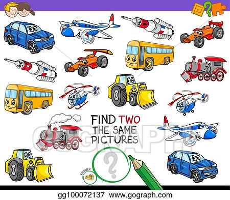 vector art find two the same vehicles activity game clipart