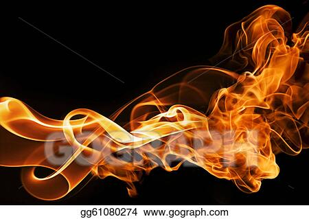 Clip Art Fire And Smoke On A Black Background Stock Illustration Gg61080274 Gograph