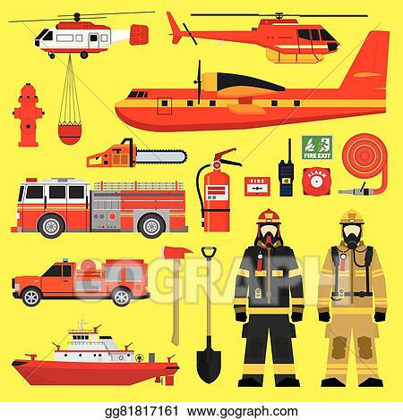 Fireman Equipment Flat Retro Style Icons Collection With Red.. Royalty Free  Cliparts, Vectors, And Stock Illustration. Image 56989298.