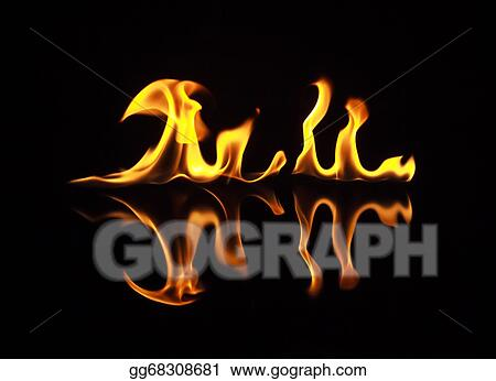 drawings fire flames on a black background stock illustration