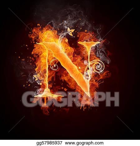 Fire Swirl Letter N