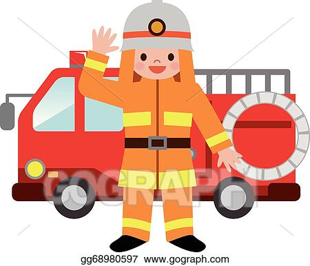 eps illustration fire truck and firefighters childre vector rh gograph com Fire Truck Graphics Firefighter Symbol Clip Art