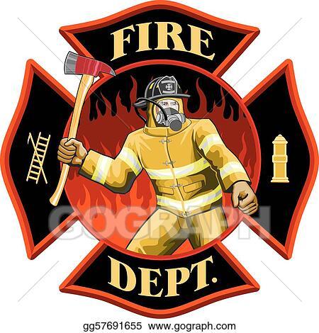 Vector Illustration Firefighter Inside Cross Symbol Stock Clip