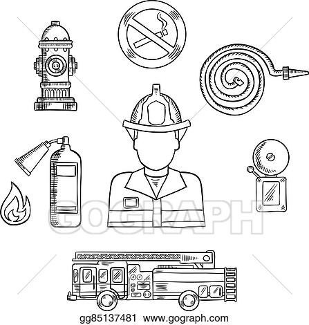 Vector Stock Firefighter With Fire Protection Sketch Symbols