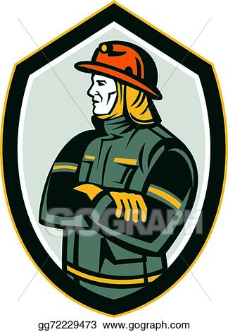 vector art fireman firefighter arms folded shield retro clipart