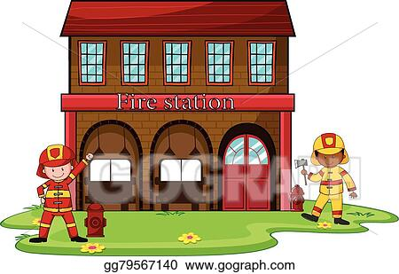 vector art firemen working at the fire station clipart drawing rh gograph com fire department clipart black and white fire department clipart