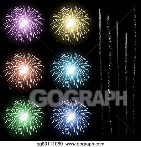 Vector Art - Firework rocket explosion template with rocket tail ...