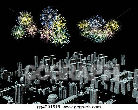 fireworks over the city new years
