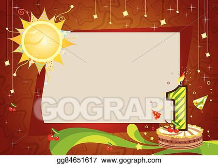 Vector Art - First birthday frame . EPS clipart gg84651617 - GoGraph