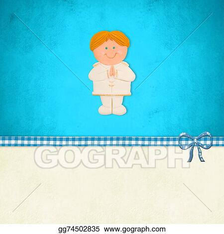 Drawing First Holy Communion Card Blonde Boy Clipart
