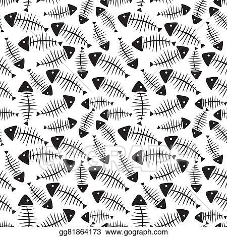 clip art vector fish bone seamless pattern background vector