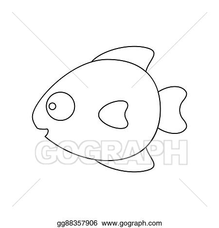 Stock Illustrations Fish Line Icon Illustration For Web And