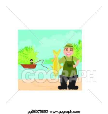 Vector Art Fisherman And Fishing Boat Clipart Drawing Gg68075852