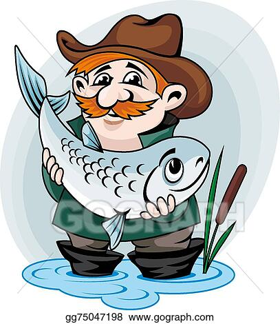 Fisherman Catching Big One Retro Clipart Stock Vector (Royalty Free)  64852483
