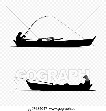 Vector Art Fisherman On Boat Clipart Drawing Gg97684047 Gograph