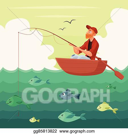 Vector Art Fisherman Sitting In The Boat Clipart Drawing Gg85813822 Gograph