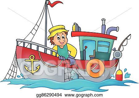 Vector Illustration Fishing Boat Theme Eps Clipart Gg86290494