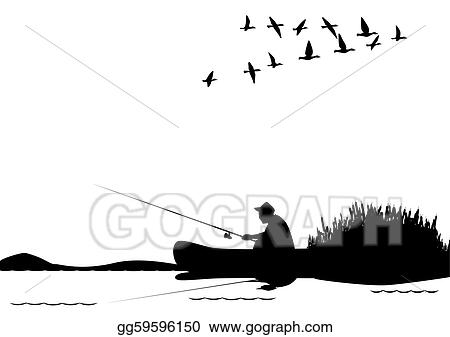 Vector Art Fishing From A Boat Clipart Drawing Gg59596150 Gograph