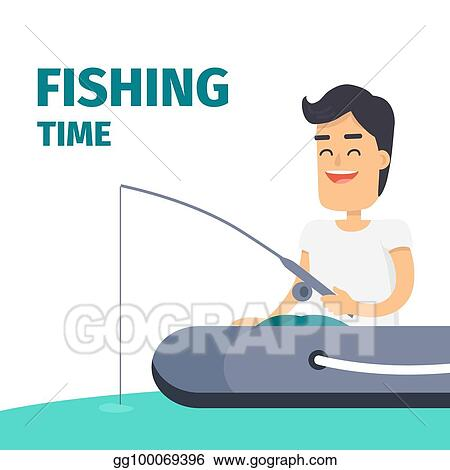 Vector Clipart Fishing Time Vector Concept With Fisherman On Boat Vector Illustration Gg100069396 Gograph
