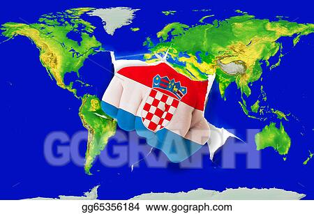 Stock Illustration Fist In Color National Flag Of Croatia Punching