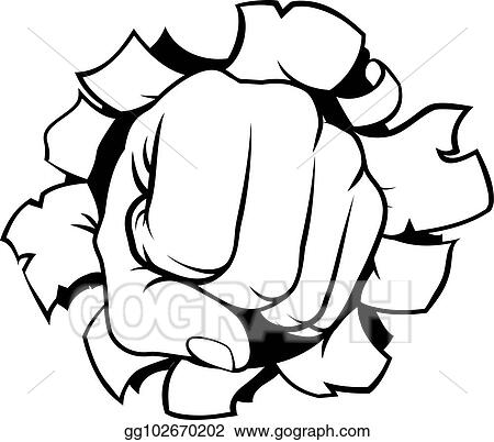 Vector Illustration Fist Punching Through Background Eps Clipart Gg102670202 Gograph