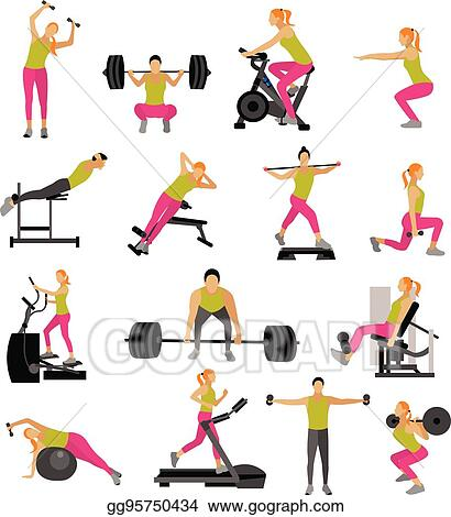 410b60e658f Vector Stock - Fitness and workout exercise in gym. vector set of ...
