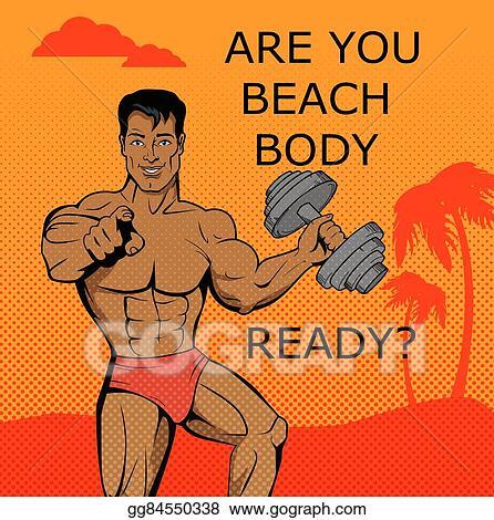 Clip Art Vector Fitness Boy Beach Body Ready Design Stock Eps Gg84550338 Gograph