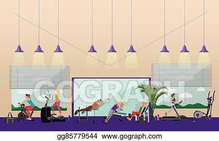 Gym room background equipment vector images