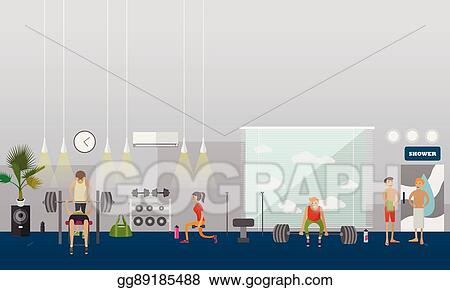 Top exercise room clip art vector graphics and illustrations
