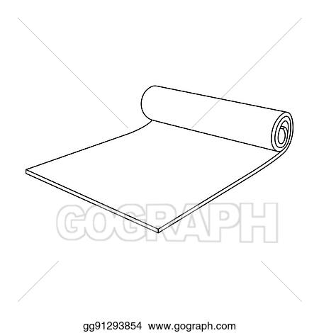 Stock Illustration - Fitness mat icon in outline style