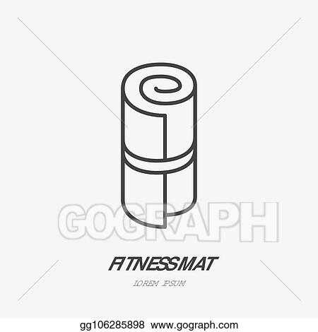 Eps Vector Fitness Mat Roll Flat Line Icon Yoga Carpet Vector Sign Thin Linear Logo For Sport Equipment Store Stock Clipart Illustration Gg106285898 Gograph