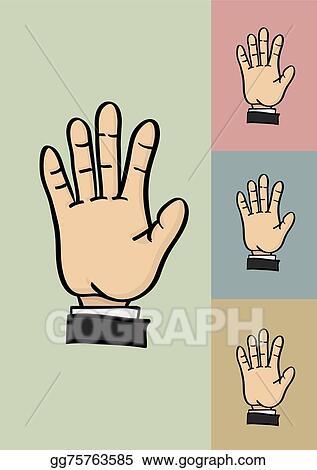 vector art five fingers and palm hi five hand gesture vector