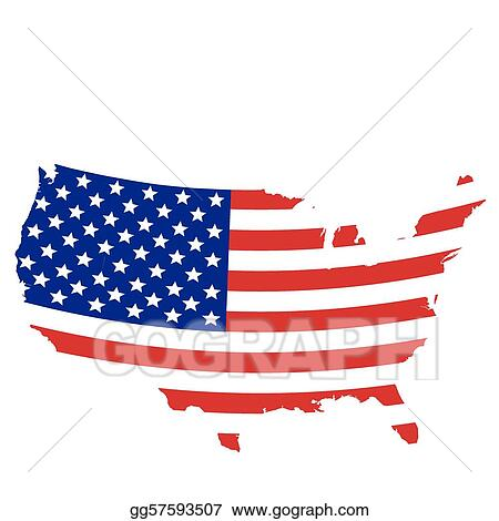Eps Vector Flag Designed United States Map Stock Clipart