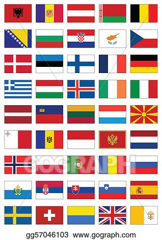 vector illustration flag set of all european countries stock clip