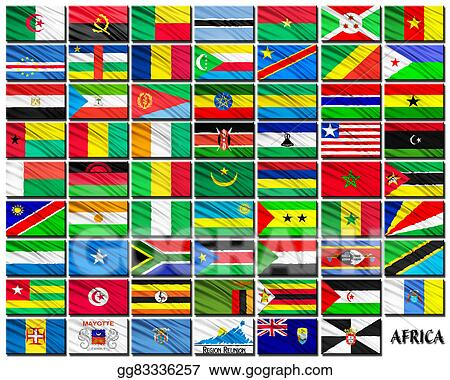 stock illustration flags of african countries in alphabetical