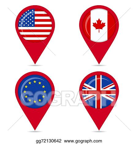 Vector Stock Flags Of Anglo Saxon Countries Stock Clip Art
