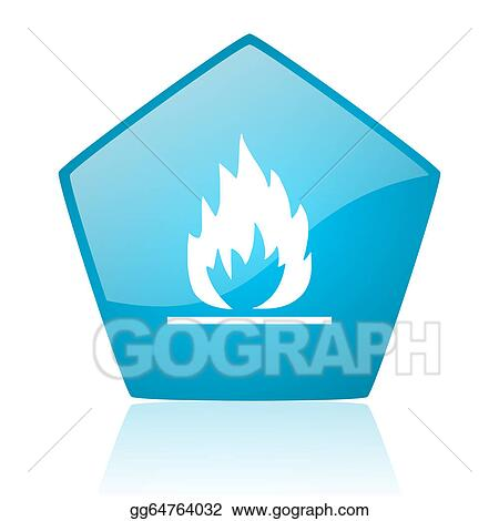drawings flames blue pentagon web glossy icon stock illustration