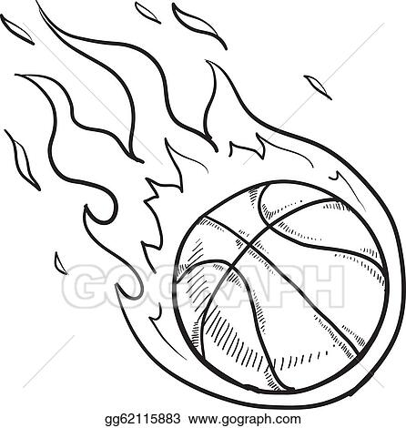 Basketball flaming. Vector stock sketch clip